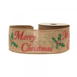 Luxury Merry Christmas Print Natural Woven Ribbon - 1m length