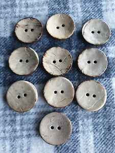 10 large 30mm natural coconut shell wooden coat sewing craft knitting buttons