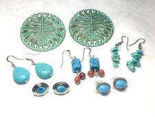 Southwest Earrings Lot, Faux Turquoise, Dangles, 6 Pairs