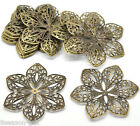 150 Bronze Tone Filigree Flower Wraps Connectors 6x5.3cm