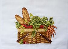 Guest Kitchen Towel Basket of Bread & Vegetables Linen Cotton Embroidered - New