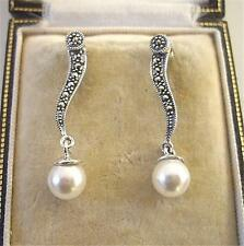 Glam Deco Design Faux Pearl, Marcasite Silver Drop Earrings
