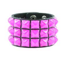Pink Pyramid Stud Bracelet Punk Rockers Leather Bracelet Gothic Glam Metal Hard