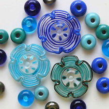 RachelArt Lampwork Flowers Glass Beads Blue Teal Turquoise Handmade Spacers