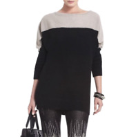 BCBG Maxazria Karlie Wool Yak Color Block Sweater Tunic Dolman Sleeve S Small