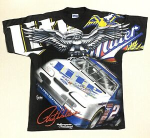 Vtg Nascar Tshirt Rusty Wallace All Over Print L New Without Tags Deadstock