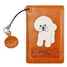 Bichon Frise Leather Dog Commuter ID/Pass Card Holder Handmade *VANCA* #26497
