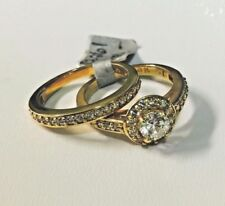14K Yellow Gold Cubic Zirconia Halo Wedding/Engagement Bridal Ring Set 5mm, Sz 7