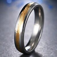 4mm Stainless Steel Mens & Womens Wedding Band - New Gold & Silver Comfort Ring