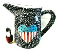 "Gustin AMERICANA POTTERY PITCHER 7"" Spongeware Red Blue Heart HP FREE SHIP"