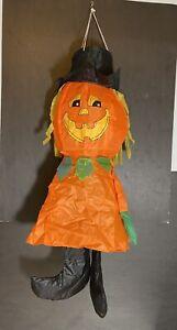 "Orange Halloween Pumpkin Jack O Lantern Wind Windsock 27"" Hanging Decor"