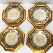 Vintage James Papalia Gold Geometric Picture Frames 1960s Engraved Greek