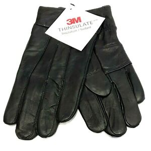 Mens Gloves 3M Thinsulate Genuine Leather Black Insulated Lined Winter Driving