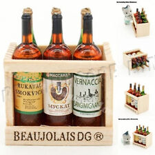 6 Wine Juice Bottles With Wooden Miniature Kitchen Drink Toy Dollhouse Gift Hot