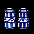 Vintage Chinese Porcelain Blue & White Farmhouse Salt & Pepper Shakers