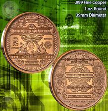 1 Oz Copper Round United Snake Series Indian Skull 999,99 AVDP