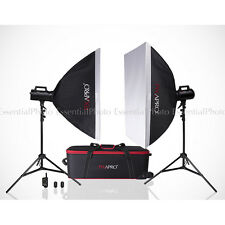 400W Fan Cool Strobe Bowens S Fit  School Portrait Lighting Set Studio Flash Kit
