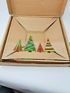 Pampered Chef Christmas Tree Holiday Serving Plate 2807 + Side Serving Plates !