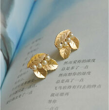 Unique Antique Wind Golden Metal Leaf String Pearl Ear Clip Earrings No Ear Hole