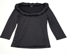 fa4f6191396 HELL BUNNY Women s MEDIUM Black White Ruffle Polka Dot Rockabilly Shirt Top  j3
