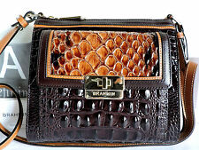 Brahmin Mimosa Tobacco Carlisle Leather Cross-Body Bag with Built-In Wallet NWT