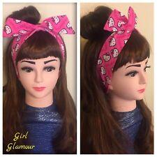 Hair Tie Headband Bandana - Pink Heart Hello Kitty Fabric - Hairband Bow Dress