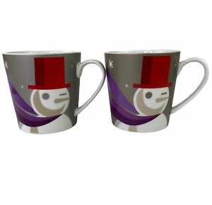 Starbucks 2011 When We Are Together Snowman Christmas Coffee Cup Mug Set of 2