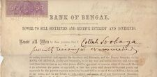5 Rupees embossed stamp 1883 Bank of Bengal securities document