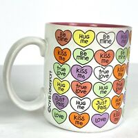 Chris Davenport Vintage 80's Valentine's Day Candy Hearts Coffee Mug Cup Enesco