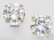 1/4 Carat Tiny 3mm Solid 14K Yellow Gold AAA D-Flawless CZ Stud Earrings SPARKLY