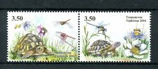 Tajikistan 2016 MNH Turtles 2v Se-tenant Set Dragonflies Insects Reptiles Stamps