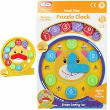 Plastic Puzzle Clock Teach Time Shape Sorter Educational Toy Toddler Funtime