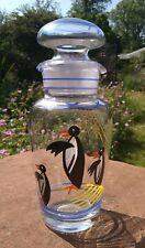 More details for vintage hand painted glass cocktail decanter / shaker retro penguins