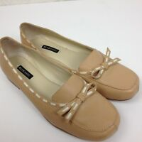 Womens ALEX MARIE Beige Tan Leather Slip On Comfort Driving Shoes Flats Sz 6.5 M