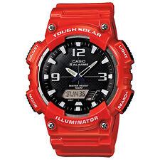 Casio Men's Solar Ana-Digi Black Dial Red Resin Band 47mm Watch AQS810WC-4AV