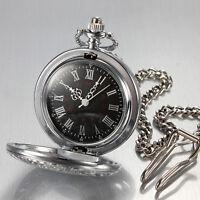 Herrenuhr Taschenuhr mit Kette Half Hunter Mechanisch Uhr Silber Pocket  Watch!