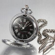 Men's Watch Pocket Watch with Chain Half Hunter Quartz Watch Silver Pocket w