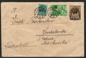 Hungary. Cover mailed 5/16/1940 from Gyor Hungary to Bolivia.