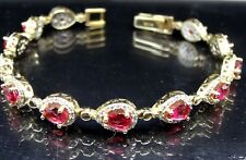 Turkish Handmade  925 Sterling Silver Ruby Authentic Ladies Womans Bracelet75