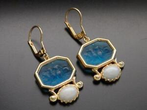 TAGLIAMONTE Earrings YGP/SS Aqua blue Venetian glass Cameo+ grey Jade leverbacks