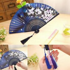 Chinese Japanese Folding Bamboo Silk Hand Held Dance Fan Party Wedding Prom