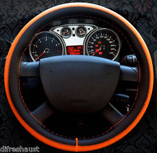 FPV Genuine Leather Steering Wheel Cover Brown Orange Blue & White