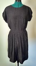 Rebecca Taylor Silk Dress Gray with black print. Vintage look   Size: 4 EUC