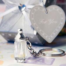 25 Crystal Glass Baby Bottle Design Key Chain Favors Baby Shower Favor Bulk Lot