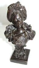 Heavily Patinated Bronze of Victorian Lady Bust Sculpture Statue Figurine