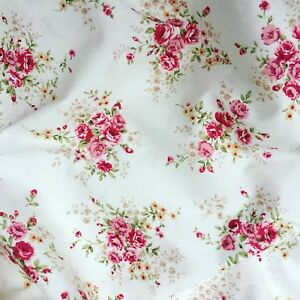 Ivory Red Gold Rose Vintage Floral Fabric Rose & Hubble 100% Cotton X HALF METRE
