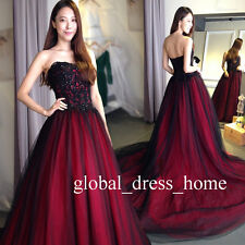 Gothic A Line Quinceanera Dresses Red/Black Lace Tulle Prom Wedding Formal Gowns