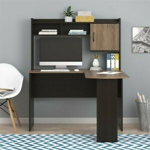 Mainstays L-Shaped Desk with Hutch Espresso/Rustic Oak Large work surface