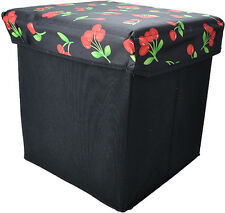 Cute Retro Hocker CHERRY 50s Kirschen Stoffbox / Kiste Rockabilly