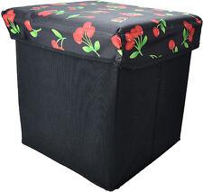 Cute rétro tabouret Cherry 50s CERISES boîte en tissu/caisse rockabilly